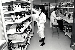 Pharmacy, City Hospital, Nottingham March 1991 UK