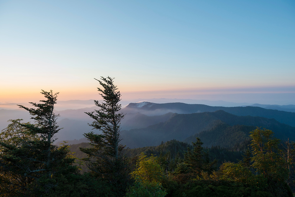 Appalachian Mountain landscape viewed from Mt. LeConte at sunrise in the Great Smoky Mountains National Park<br /> (Great Smoky Mountains National Park, USA - August 2012)