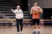 Biella, 14/12/2012<br /> Basket, All Star Game 2012<br /> Allenamento Nazionale Italiana Maschile <br /> Nella foto: luca dalmonte, stefano gentile<br /> Foto Ciamillo