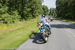 Ken McManus riding his 1936 Harley-Davidson Knucklehead  during Stage 5 of the Motorcycle Cannonball Cross-Country Endurance Run, which on this day ran from Clarksville, TN to Cape Girardeau, MO., USA. Tuesday, September 9, 2014.  Photography ©2014 Michael Lichter.