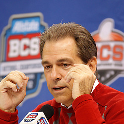 January 6, 2012; New Orleans, LA, USA; Alabama Crimson Tide head coach Nick Saban talks during Media Day for the 2012 BCS National Championship game to be played on January 9, 2012 against the LSU Tigers at the Mercedes-Benz Superdome.  Mandatory Credit: Derick E. Hingle-US PRESSWIRE