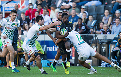 DURBAN, SOUTH AFRICA - MAY 19: Lwazi Mvovo of the Cell C Sharks on attack during the Super Rugby match between Cell C Sharks and Chiefs at Jonsson Kings Park on May 19, 2018 in Durban, South Africa. Picture Leon Lestrade/African News Agency/ANA