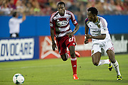 FRISCO, TX - JULY 13:  Je-Vaughn Watson #27 of FC Dallas chases down a ball against Abdoulie Mansally #29 of Real Salt Lake on July 13, 2013 at FC Dallas Stadium in Frisco, Texas.  (Photo by Cooper Neill/Getty Images) *** Local Caption *** Je-Vaughn Watson; Abdoulie Mansally