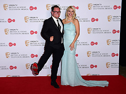 Holly Willoughby and Alan Carr in the press room at the Virgin TV British Academy Television Awards 2017 held at Festival Hall at Southbank Centre, London. PRESS ASSOCIATION Photo. Picture date: Sunday May 14, 2017. See PA story SHOWBIZ Bafta. Photo credit should read: Ian West/PA Wire