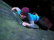 Hazel Findlay soloing Crystal Voyager, E4 6a, Bosley Cloud, Cheshire
