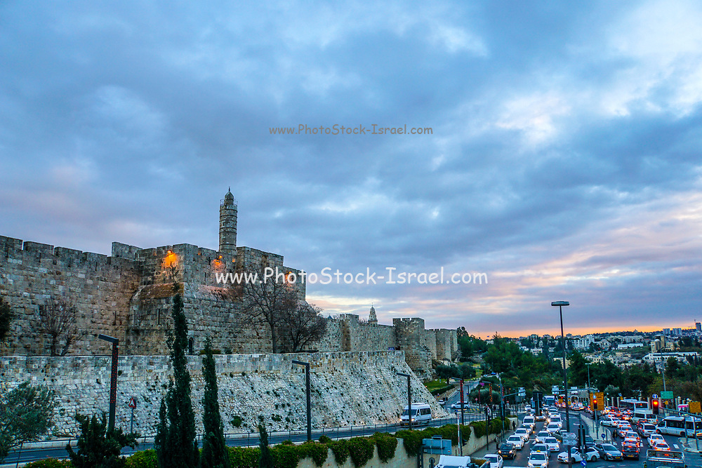 David Tower at sunset in the old city of Jerusalem, Israel