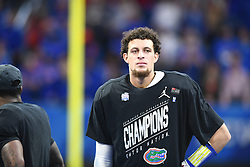 Florida Gators quarterback Feleipe Franks (13) after his team won the Chick-fil-A Bowl Game at  the Mercedes-Benz Stadium, Saturday, December 29, 2018, in Atlanta. ( AJ Reynolds via Abell Images for Chick-fil-A Kickoff)
