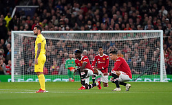 Manchester United's Paul Pogba and Cristiano Ronaldo (right) take a knee during the UEFA Champions League, Group F match at Old Trafford, Manchester. Picture date: Wednesday September 29, 2021.