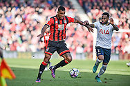 AFC Bournemouth Midfielder, Joshua King (17) and Tottenham Hotspur Defender, Danny Rose (3) challenge for the ball during the Premier League match between Bournemouth and Tottenham Hotspur at the Vitality Stadium, Bournemouth, England on 22 October 2016. Photo by Adam Rivers.