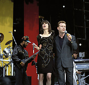 Chrissie Hynde and Ali Campbell of the band UB40 at Nelson Mandela concert London 1988