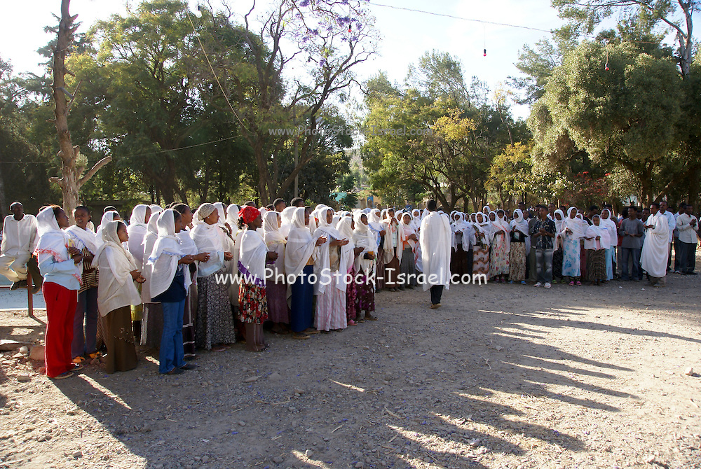 Ethiopian pilgrims during Timkat, the Ethiopian Orthodox celebration of the Epiphany, Christian feast day celebrating the revelation of the human and divine nature of Jesus Christ, at the Church of Our Lady Mary of Zion located in the ancient city of Axum in Ethiopia