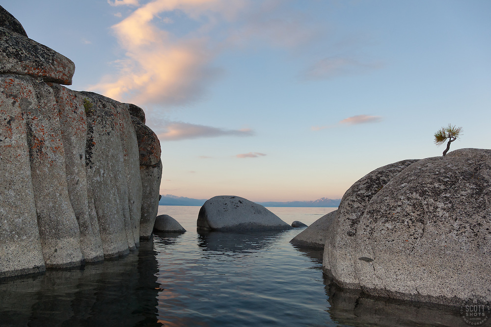 """""""Tahoe Boulders at Sunrise 11"""" - These boulders were photographed at sunrise near Speedboat Beach, Lake Tahoe. Photographed from a kayak."""