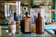 USA Missouri MO, Hannibal a port town on the Mississippi River better known as the childhood town of Samuel Langhorne Clemens AKA Mark Twain. Interior of Dr. Grant's pharmacy