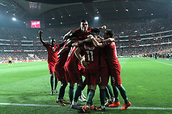 October 10, 2017 - Lisbon, Portugal - Portugal's forward Andre Silva (17) celebrates with teammates after scoring during the 2018 FIFA World Cup qualifying football match between Portugal and Switzerland at the Luz stadium in Lisbon, Portugal on October 10, 2017. Photo: Pedro Fiuza  (Credit Image: © Pedro Fiuza/NurPhoto via ZUMA Press)