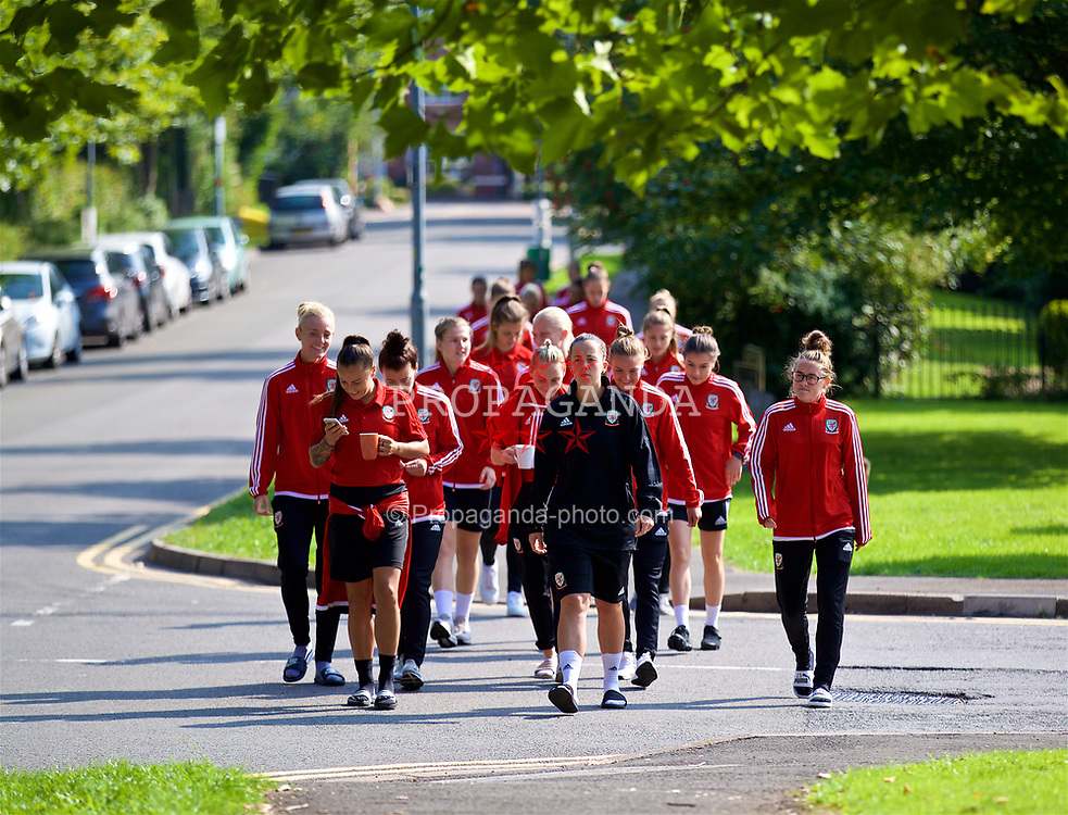 NEWPORT, WALES - Friday, August 31, 2018: Wales players during a pre-match team walk ahead of the FIFA Women's World Cup 2019 Qualifying Round Group 1 match between Wales and England. (Pic by David Rawcliffe/Propaganda)
