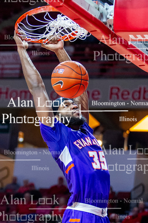 NORMAL, IL - January 29: John Hall during a college basketball game between the ISU Redbirds and the University of Evansville Purple Aces on January 29 2020 at Redbird Arena in Normal, IL. (Photo by Alan Look)