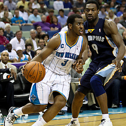 April 1, 2011; New Orleans, LA, USA; New Orleans Hornets point guard Chris Paul (3) drives past Memphis Grizzlies shooting guard Tony Allen (9) during the second half at the New Orleans Arena. The Grizzlies defeated the Hornets 93-81.   Mandatory Credit: Derick E. Hingle