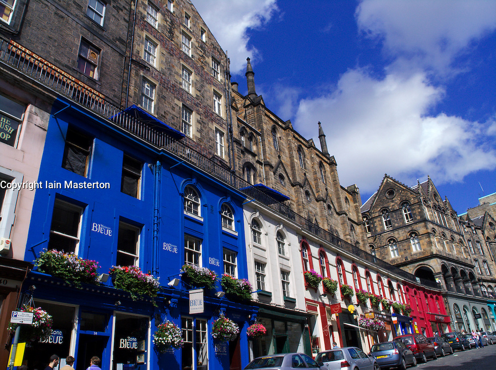 Colourful old traditional stone buildings on Victoria Street in historic Old Town of Edinburgh Scotland UK 2005