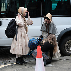 """Moray Place in Edinburgh's Georgian old town was turned into 19th century London for Julian Fellowes' new ITV show """"Belgravia"""".<br /> <br /> Pictured: Young extras arrive on set<br /> <br /> Alex Todd 