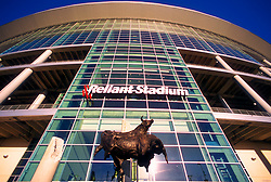 """Stock photo of the main entrance to Reliant Stadium featuring """"Spirit of the Bull"""" Monument by Walter T. Matia"""