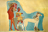 Mycenaean Fresco wall painting  of a Mycanaean with horse & wild boar hunting dog from the Tiryns, Greece. 14th - 13th Century BC. Athens Archaeological Museum. .<br /> <br /> If you prefer to buy from our ALAMY PHOTO LIBRARY  Collection visit : https://www.alamy.com/portfolio/paul-williams-funkystock/mycenaean-art-artefacts.html . Type -   Athens    - into the LOWER SEARCH WITHIN GALLERY box. Refine search by adding background colour, place, museum etc<br /> <br /> Visit our MYCENAEN ART PHOTO COLLECTIONS for more photos to download  as wall art prints https://funkystock.photoshelter.com/gallery-collection/Pictures-Images-of-Ancient-Mycenaean-Art-Artefacts-Archaeology-Sites/C0000xRC5WLQcbhQ