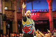 Kyle Anderson after his defeat to James Wade during the First Round of the BetVictor World Matchplay Darts at the Empress Ballroom, Blackpool, United Kingdom on 19 July 2015. Photo by Shane Healey.