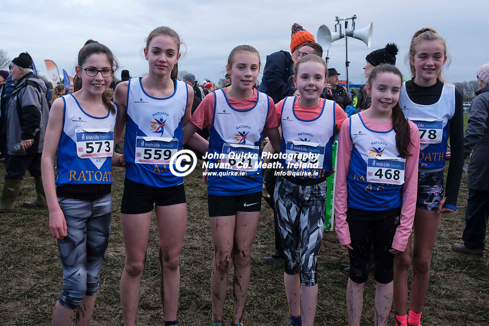 15/12/2019, All Ireland National Juvenile Uneven Ages and Novice Cross Country Finals at Dunboyne AC<br /> Ratoath Girls u13 athletes, L-R, Lucy Mooney, Katie Doherty, Sophie Finn, Aisling Clare, Amber Lane, Mary Kate Prior<br /> Photo: David Mullen / www.quirke.ie ©John Quirke Photography, Unit 17, Blackcastle Shopping Cte. Navan. Co. Meath. 046-9079044 / 087-2579454.<br /> ISO: 400; Shutter: 1/250; Aperture: 5; <br /> File Size: 6.1MB