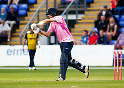 Stephen Eskinazi of Middlesex hits a boundary of the bowling of Lukas Carey of Glamorgan<br /> <br /> Photographer Simon King/Replay Images<br /> <br /> Vitality Blast T20 - Round 4 - Glamorgan v Middlesex - Friday 26th July 2019 - Sophia Gardens - Cardiff<br /> <br /> World Copyright © Replay Images . All rights reserved. info@replayimages.co.uk - http://replayimages.co.uk
