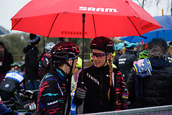 Kasia Niewiadoma & Pauline Ferrand Prevot chat on the start line at Strade Bianche - Elite Women 2018 - a 136 km road race on March 3, 2018, starting and finishing in Siena, Italy. (Photo by Sean Robinson/Velofocus.com)