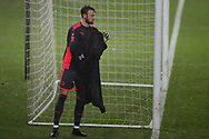 Will Norris, the goalkeeper of Wolverhampton Wanderers looks on. The Emirates FA Cup, 3rd round replay match, Swansea city v Wolverhampton Wanderers at the Liberty Stadium in Swansea, South Wales on Wednesday 17th January 2018.<br /> pic by  Andrew Orchard, Andrew Orchard sports photography.