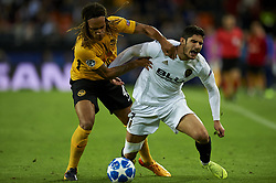 November 7, 2018 - Valencia, Spain - Gonzalo Guedes of Valencia and Mbabu of Young Boys battle for the ball during the Group H match of the UEFA Champions League between Valencia and Young Boys at Mestalla Stadium, Valencia on November 07 of 2018. (Credit Image: © Jose Breton/NurPhoto via ZUMA Press)