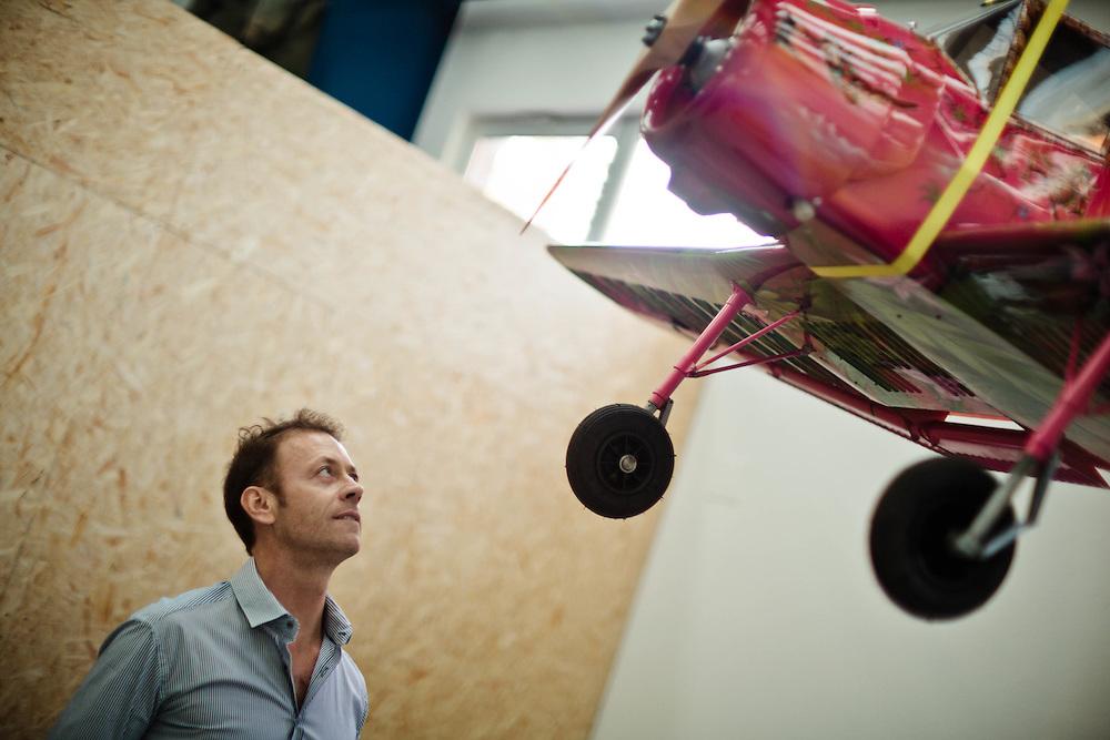 15 NOV 2011 - Budapest (Ungheria) - Rocco Siffredi, attore e produttore porno, nella propria tenuta vicino a casa. L'hangar con moto, auto, modelli di aereo ed elicottero