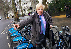 """Mayor of London Boris Johnson announcing he will create a """"Crossrail for the bike"""" as part of his plans to invest nearly £1 billion investment in London cycling, March 7, 2013. Photo by Andre Camara / i-Images."""