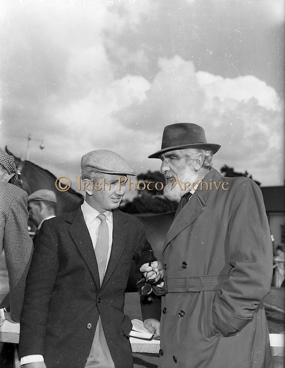 19/09/1960<br /> 09/19/1960<br /> 19 September 1960<br /> Goffs September Bloodstock Sales at Ballsbridge, Dublin. The Ballsbridge September Yearling Sales opened in Dublin and attracted many international racing personalities. Picture shows Vincent O'Brien, Irish Trainer with film star, Noel Purcell at the sales.