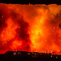 Tata Steel Scunthorpe - Heavy End - Steel Production flame and fire from steel production
