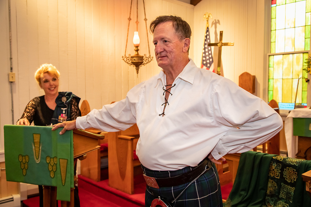 Parishioners, family and friends surprise Father Rich Munsell with a party on the 40th anniversary of his ordination.