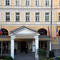 Europe, Russia, Moscow. Baltschug Kempinsky Hotel entrance.