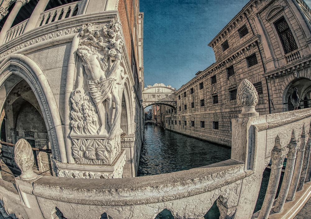 Bridge of Sighs, Venice, Italy, fisheye lens view