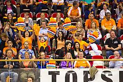 09-06-2012 VOLLEYBAL: EUROPEAN LEAGUE NEDERLAND - ISRAEL: ALMERE<br /> Publiek support fans oranje<br /> ©2012-FotoHoogendoorn.nl / Peter Schalk