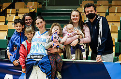 Eva Lisec posing with her family after friendly basketball match between Women National Teams of Slovenia and Montenegro, on May 21, 2021 in Arena Tri Lilije, Lasko, Slovenia. Photo by Vid Ponikvar / Sportida