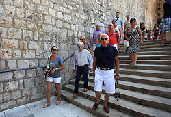 08.08.2011, Dubrovnik, CRO, Formel 1 Boss Bernie Ecclestone mit Freundin Fabiana F/losi und Red Bull F1 Teamchef Christian Horner besuchen Dubrovnik // Formula 1 boss Bernie Ecclestone with girlfrend Fabiana Flosi visit Dubrovnik, Croatia, with them also  was Christian Horner from F1 Red Bull team on 8/8/2011. EXPA Pictures © 2011, PhotoCredit: EXPA/ nph/ PIXSELL +++++ ATTENTION - OUT OF GER / CRO / BEL +++++