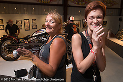 Melissa Shoemaker and Shannon Kerr on the Industry party night for Michael Lichter's tattoo themed Skin & Bones Motorcycles as Art exhibition at the Buffalo Chip during the annual Sturgis Black Hills Motorcycle Rally.  SD, USA.  August 7, 2016.  Photography ©2016 Michael Lichter.