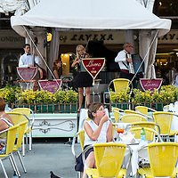 Venice August 20. A general View of the Lavena Cafe. A group of Italian tourists were horrified to be charged the equivalent of £85 for four espresso coffees laced with liqueurs in the very central Saint Mark's Square in  Venice.
