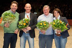 Conny van Stokkum, Gerard Franssen en Arnold Boerenkamps, Geens Robert (BEL)<br /> KWPN Hengstenkeuring - 's Hertogenbosch 2012<br /> © Dirk Caremans