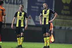 April 17, 2018 - Lier, BELGIUM - Lierse's Thomas Wils and Lierse's Frederic Frans look dejected during the Jupiler Pro League match between Lierse SK and SV Zulte Waregem, in Lier, Tuesday 17 April 2018, on day four of the Play-Off 2A of the Belgian soccer championship. BELGA PHOTO BRUNO FAHY (Credit Image: © Bruno Fahy/Belga via ZUMA Press)