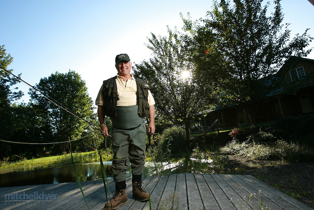 Gary Loomis, founder of G. Loomis poses at his Woodland, WA home along the Lewis River on July 24, 2007...Photo by Craig Mitchelldyer