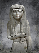 """Ancient Egyptian statue of Hel, limestone, New Kingdom, late 18th Dynasty, (1320-1280 BC), Saqqara. Egyptian Museum, Turin. <br /> <br /> The women is seated on a cushioned stool. On her head is a lotus flower. In her left hand she holds a cloth in her right a counterweight for a meant necklace, a ritual instrument used in the cult of the goddess Hathor. the statue probably stood in a tomb in Saqqara necropolis of Memphis, where the Egyptian eletes of the time had splendid tombs with statues of s similar style. The inscription evokes the deceased """"everything that comes forth in the presence of the gods of Memphis for Osiris, the lady of Hel..."""" .<br /> <br /> Visit our HISTORIC WALL ART PRINT COLLECTIONS for more photo prints https://funkystock.photoshelter.com/gallery-collection/Historic-Antiquities-Photo-Wall-Art-Prints-by-Photographer-Paul-E-Williams/C00002uapXzaCx7Y<br /> <br /> Visit our Museum ART & ANTIQUITIES COLLECTIONS to browse more photo at: https://funkystock.photoshelter.com/p/museum-antiquities"""