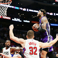 26 March 2016: Sacramento Kings center Willie Cauley-Stein (00) grabs a rebound during the Sacramento Kings 98-97 victory over the Los Angeles Clippers, at the Staples Center, Los Angeles, California, USA.
