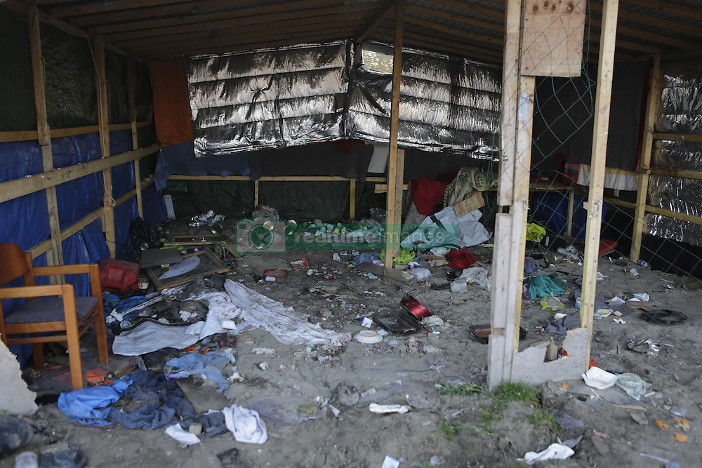 October 25, 2016 - Calais, Nord-Pas-de-Calais-Picardie, France - Some of the empty shops have been ransacked and rubbish left there. A little less than 2000 refugees are expected to be disbursed from the Jungle to different areas in France on the 2nd day of the eviction of the Jungle in Calais. It is also expected that the demolition of the camp will start. (Credit Image: © Michael Debets/Pacific Press via ZUMA Wire)