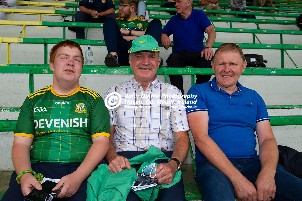 04-07-21. Meath v Longford - Leinster SFC Quarter-Final at Pairc Tailteann, Navan.<br /> Meath supporters from left, Jamie Cooney, Christy Cooney and Gerard Monaghan from Ballinabrackey.<br /> Photo: John Quirke / www.quirke.ie<br /> ©John Quirke Photography, 16 Proudstown Road, Navan. Co. Meath. (info@quirke.ie / 046-9028461 / 087-2579454).